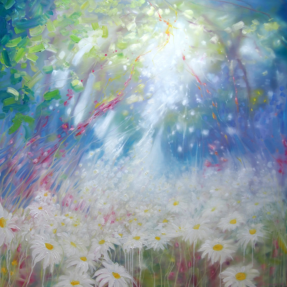 Print Of Glorious June   A Landscape With Daisies Art | Gill Bustamante Artist