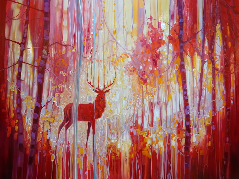 Print of Red King - a red stag art nouveau style painting