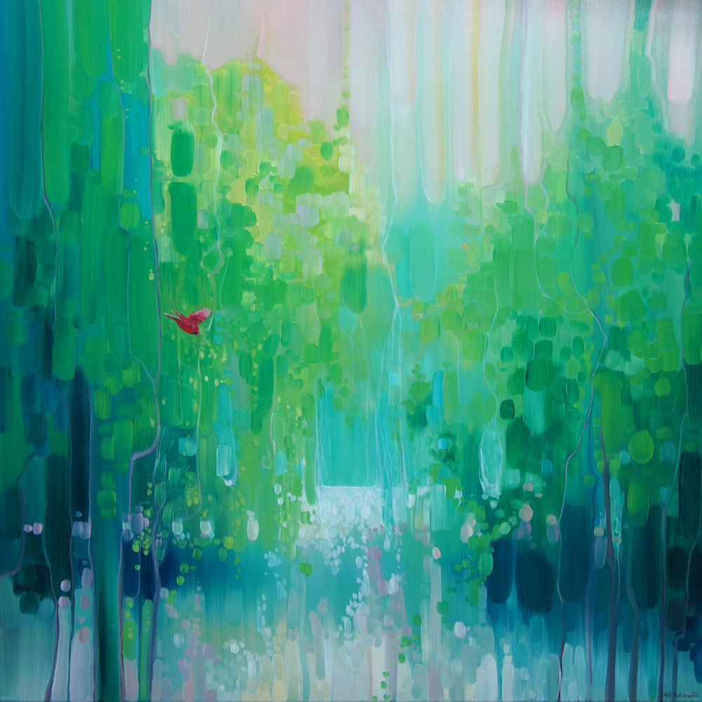 Scarlet's Green World - Green Semi Abstract Landscape With Red Bird