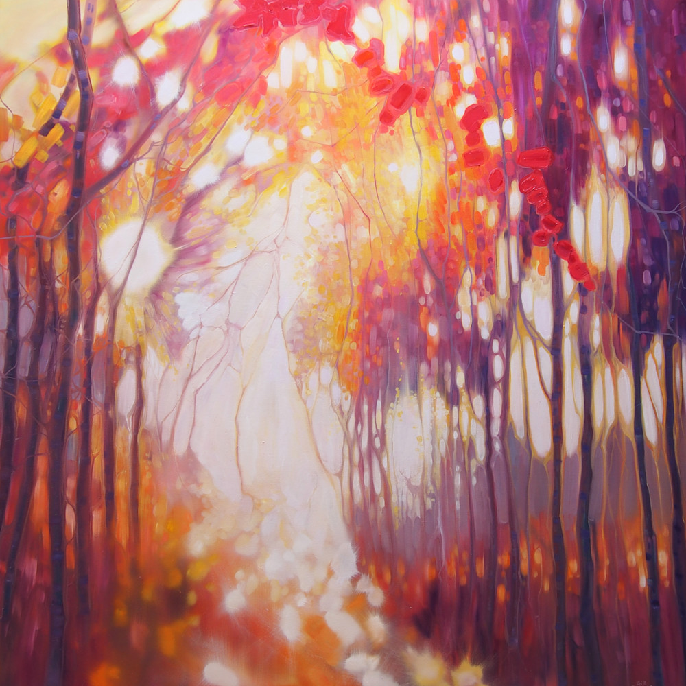 Print of Seeking the Light - an autumn woodland path