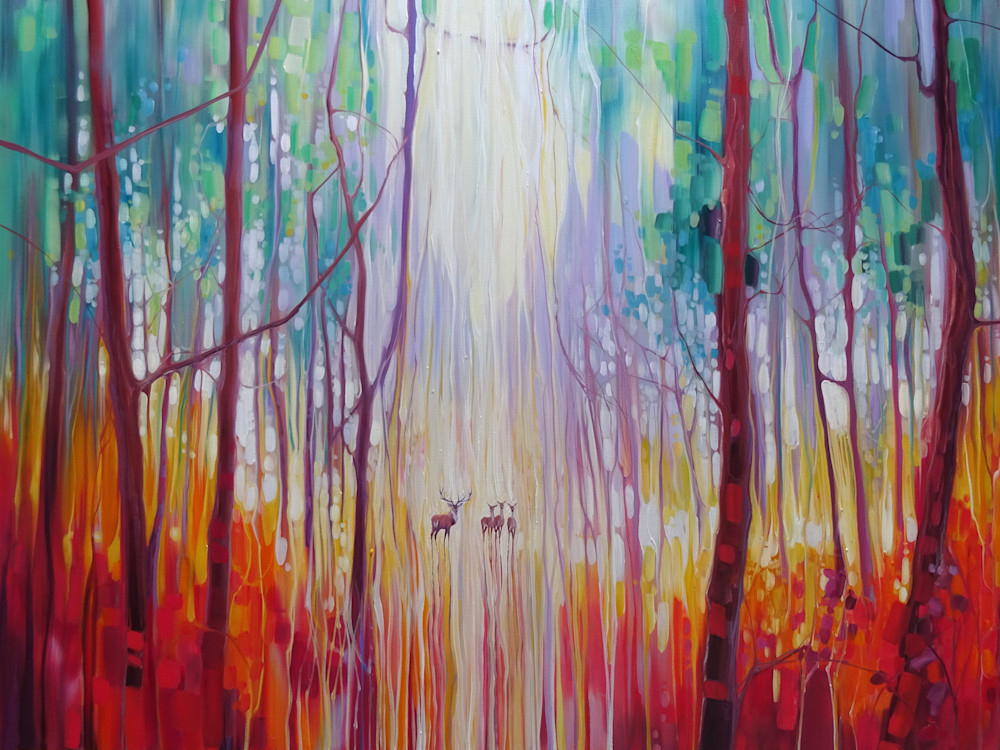 Print Of They Know   An Autumn Woodland Landscape With Deer Art | Gill Bustamante Artist