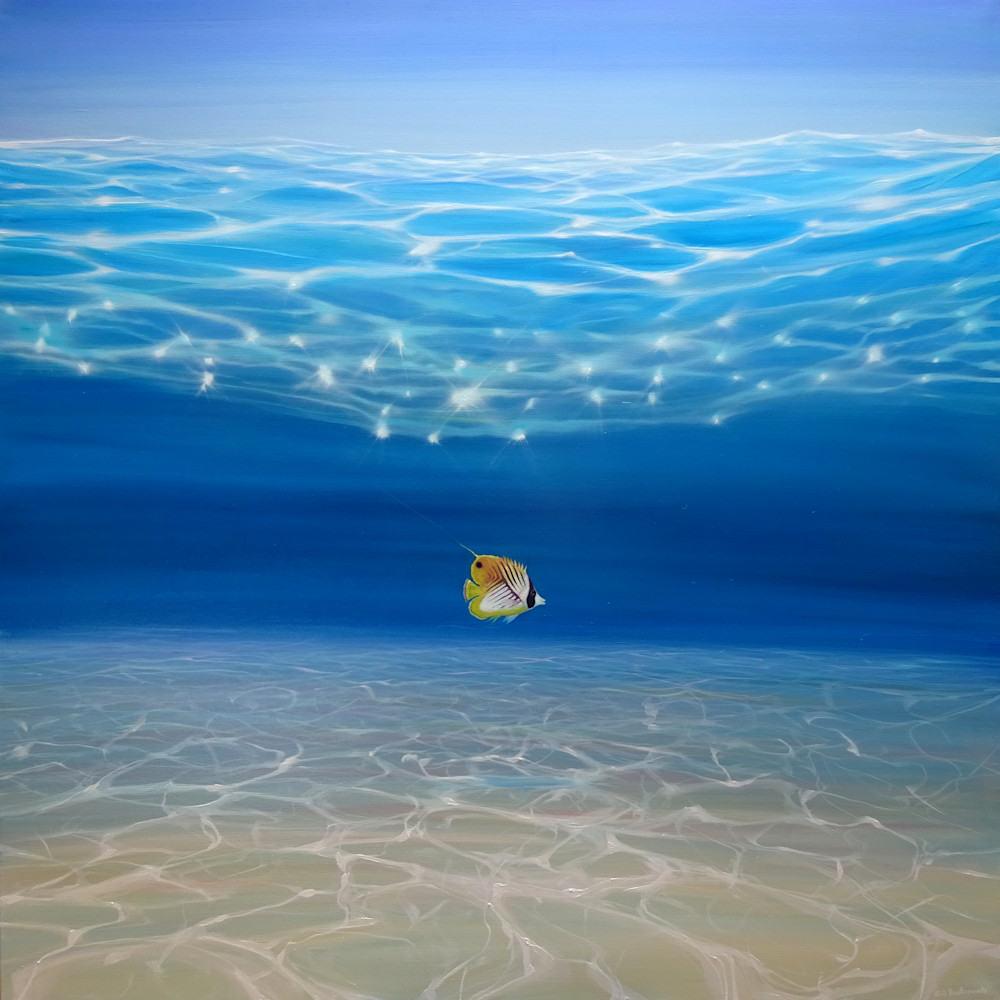 Print of Solo in the Turquoise Sea - an Underwater Seascape with threadfin butterfly fish