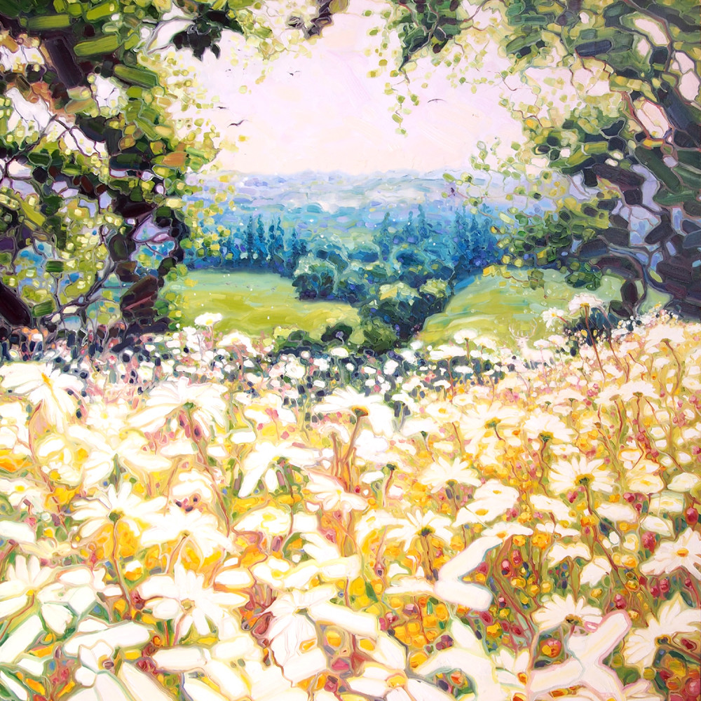 Print of Hart's Sussex Field - a daisy meadow in spring and a white stag in the distance