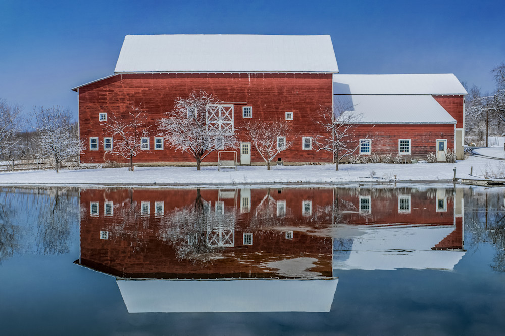 Red Barn reflected