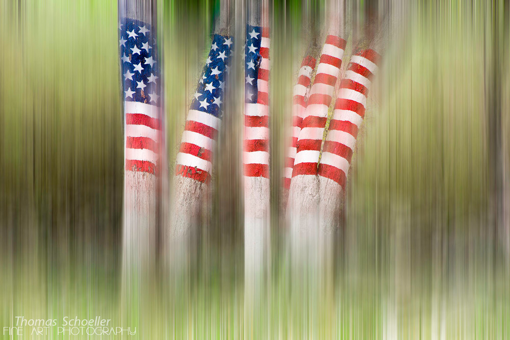 Patriotic American flag abstract impressionist fine art photography print by artist Thom Schoeller