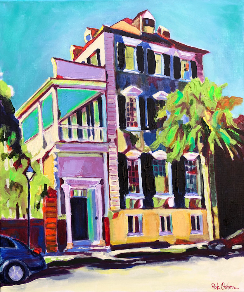 Classic Colorful Charleston House | Fine Art Painting Print by Rick Osborn
