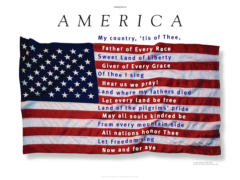 A M E R I C A My Country Tis of Thee Poster