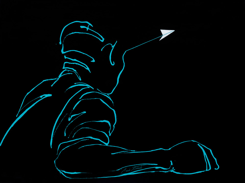 Skylines - Paper Airplane series gestural figure painting for sale on Paul Micich Art