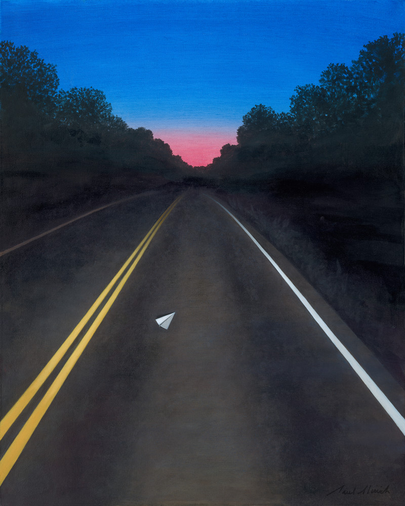 Dawn Road - Paper Airplane series painting on canvas of night road and morning sky by Paul Micich - for sale at Paul Micich Art