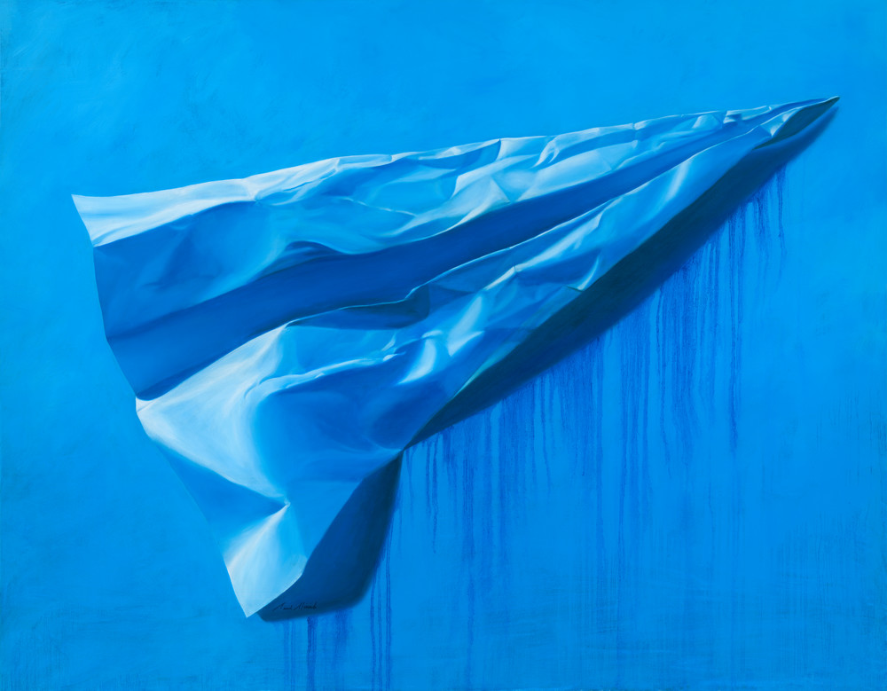 Big Blue - Paper Airplane series large painting on canvas realistic paper airplane by Paul Micich - for sale at Paul Micich Art