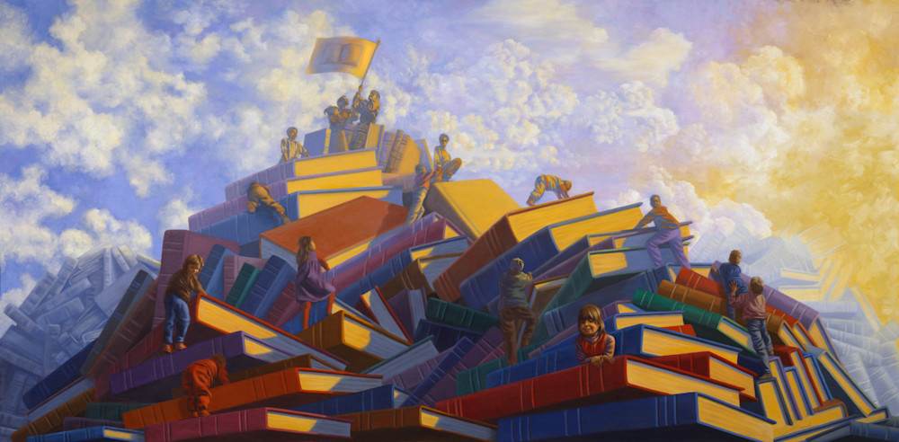 Book Mountain surreal children's storytelling mural painting and fine art prints - For Sale by Paul Micich Art