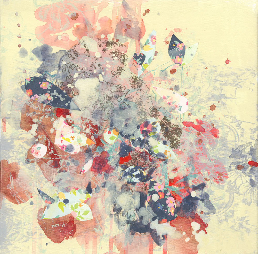 Abstract Art - Yellow, Cream, Blue and Pink Expressionistic Art for Sale
