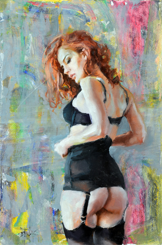 "Print of a painting by Eric Wallis titled, ""Wearing Black."""