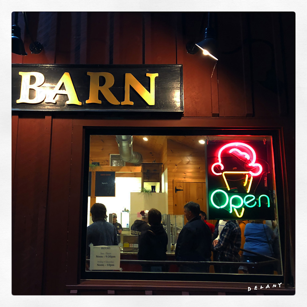 Ice Cream Barn Photo at Night
