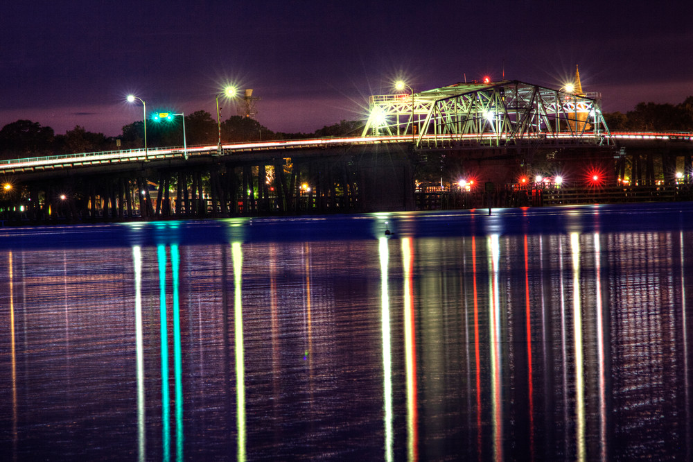 woods bridge at night