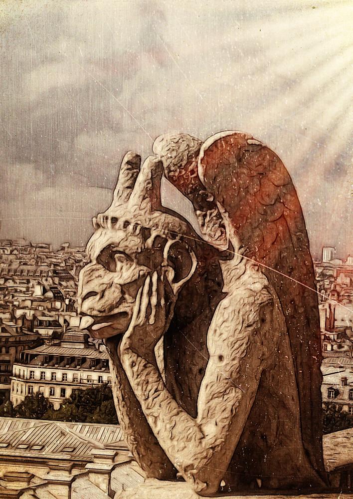 Bored Gargolye Notre Dame Paris France