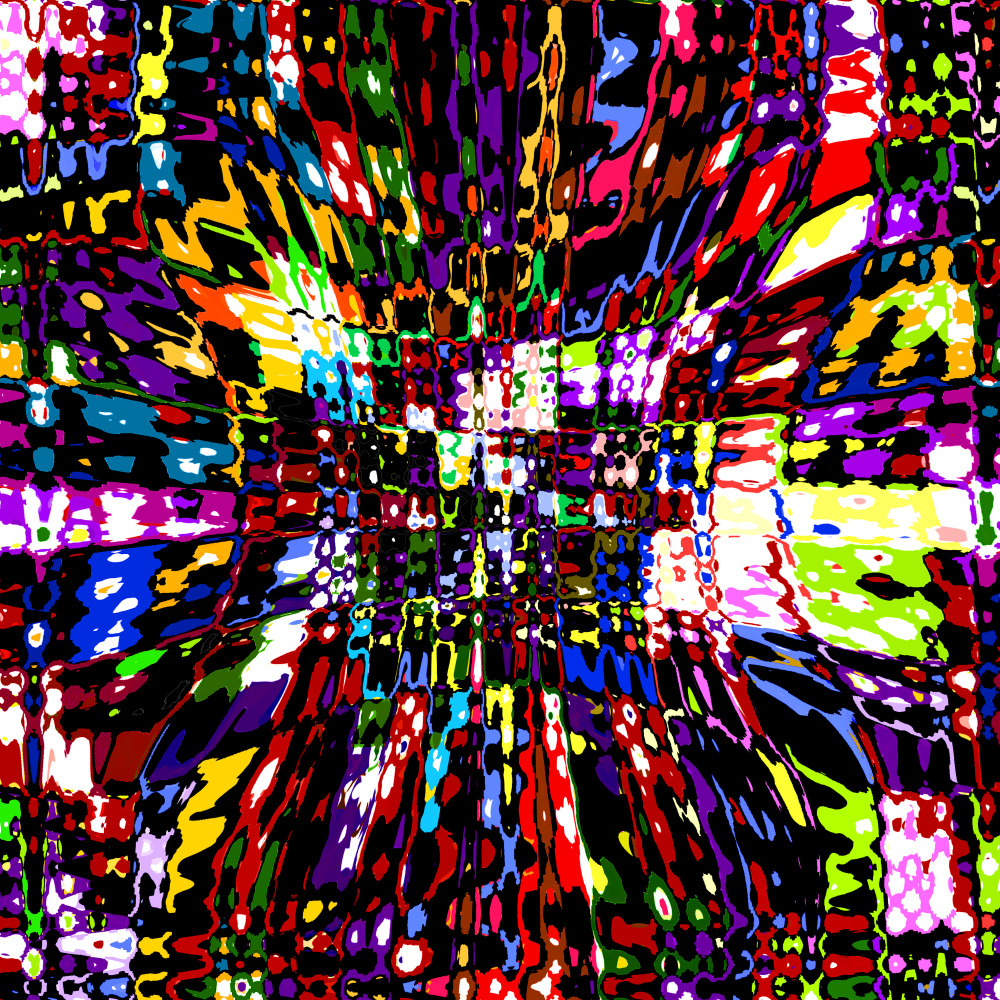 Bright pops of stained glass color / Abstract digital collage painting by Khrysso Heart LeFey / Carnival Glass fine art / Affordable quality prints in custom media