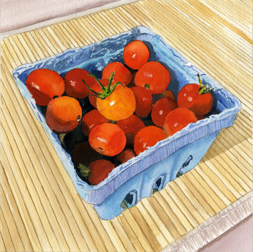 Cheerful Bright Summer Tomato Fruit Basket Print