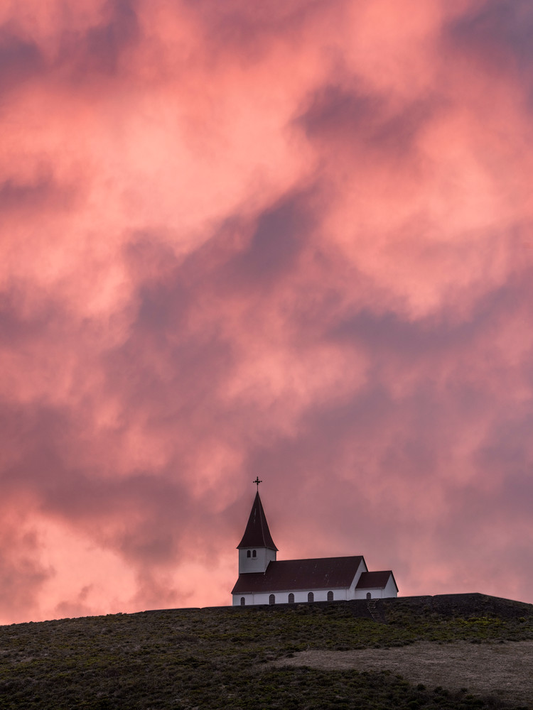 Under Fiery Skies - Icelandic church near Vik