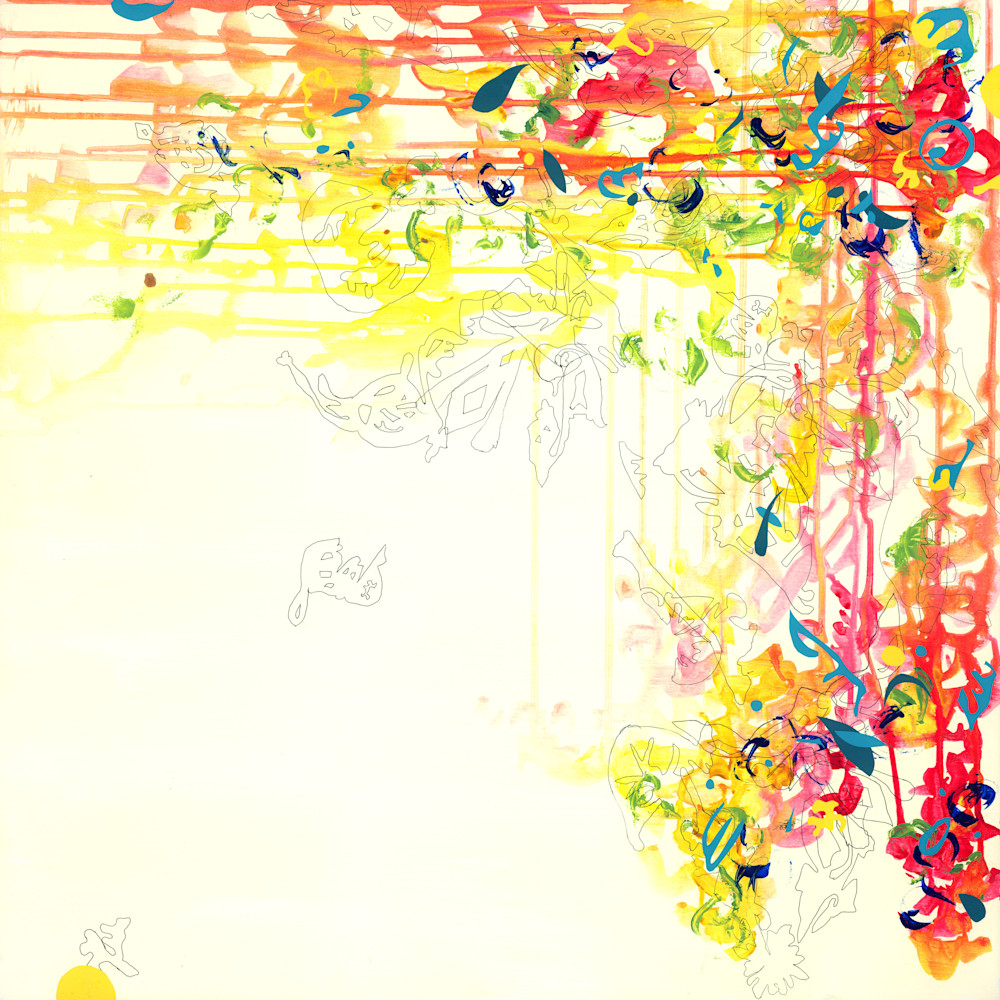 Abstract Art - Yellow and Red Botanical Inspired Art for Sale