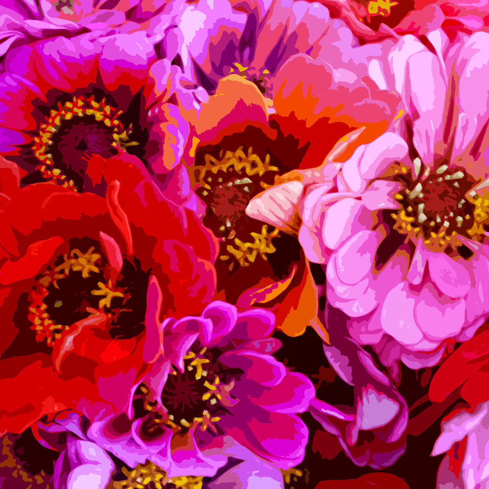 Vibrant Zinnias (Square) Art | IN the Moment Creative