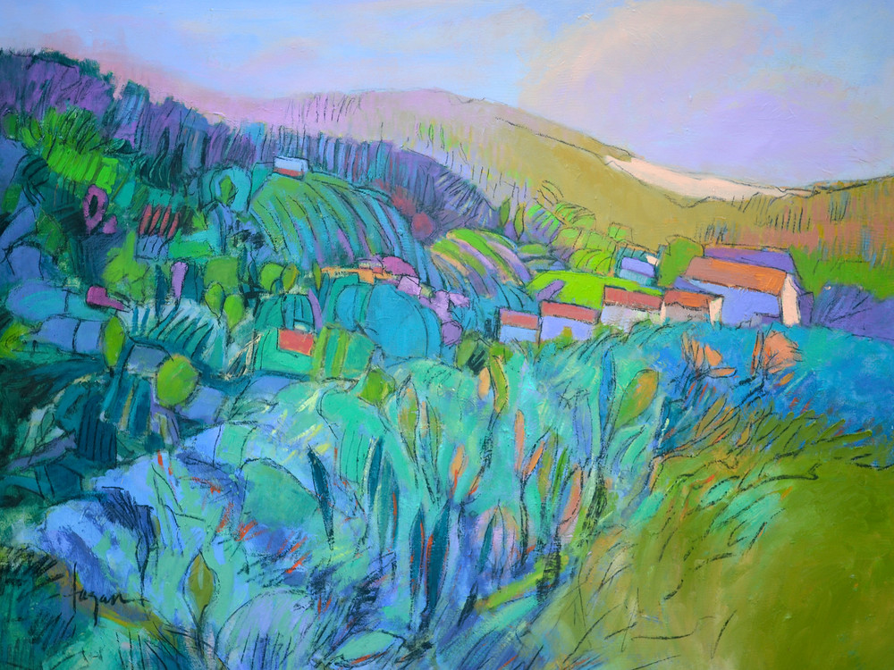 Abstract Tuscan Landscape Painting, Fine Art Print  by Dorothy Fagan