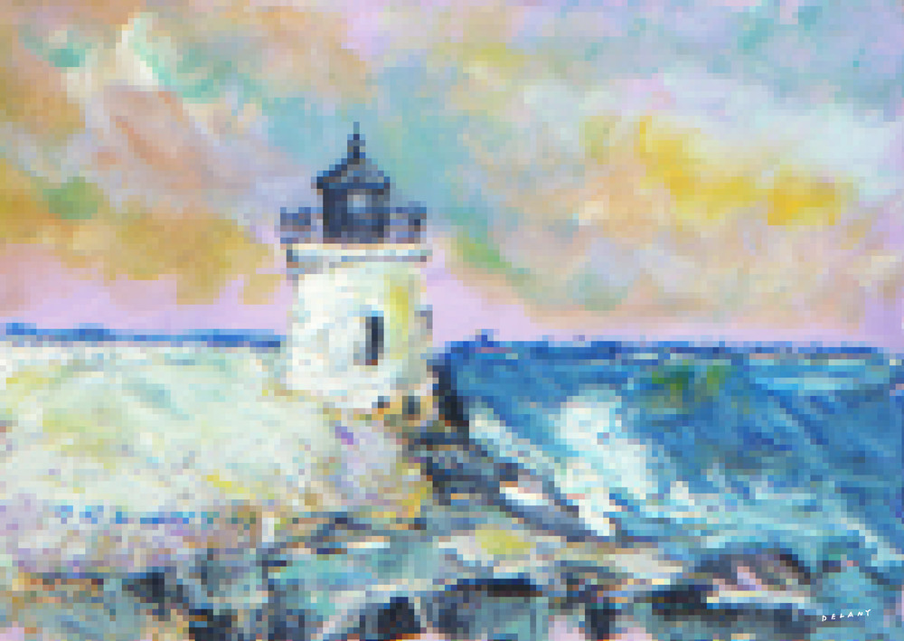 Castle Hill Light, Pixelated Print, very unusual wall art solution by  George Delany