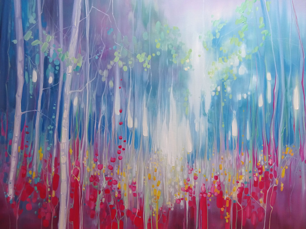 Print of Summer Roaring - an abstract summer meadow painting