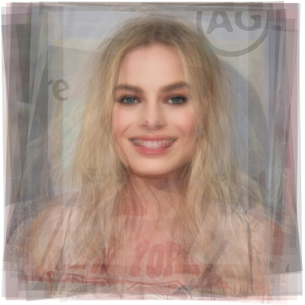 Overlay art – contemporary fine art prints of actress Margot Robbie.