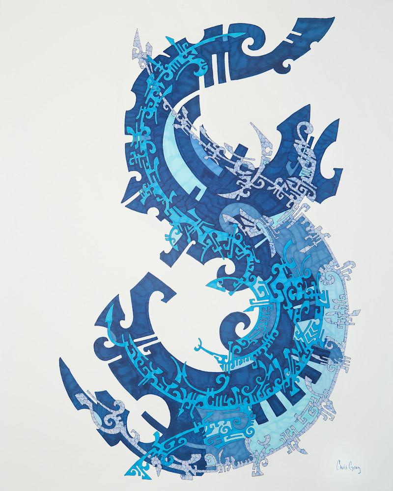 Abstract Dragon in Blue