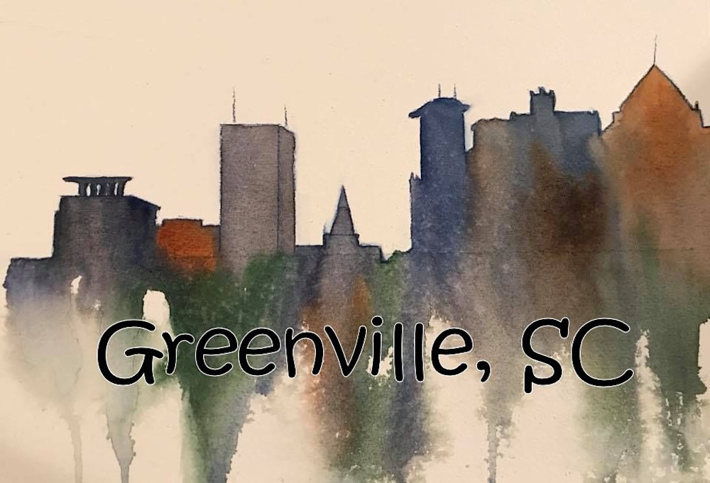 greenville skyline with words