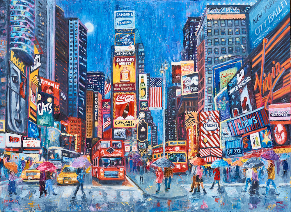 times-square, art, print, lovers, umbrellas, street-scene