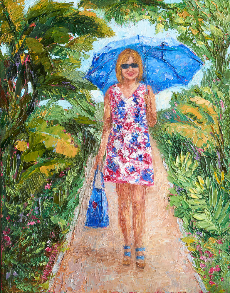 Girl walking under blue umbrella