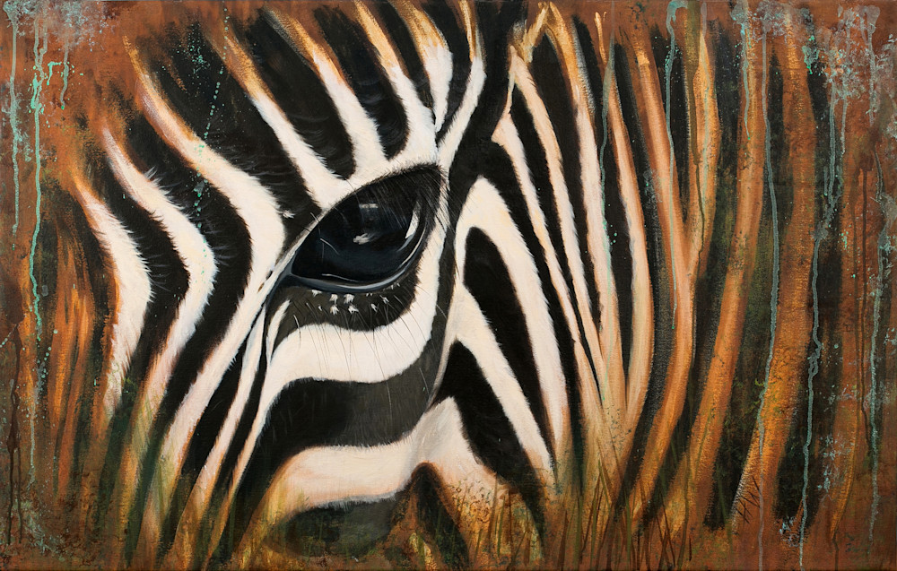 Zebra in the Mist painting by Holly Whiting for sale