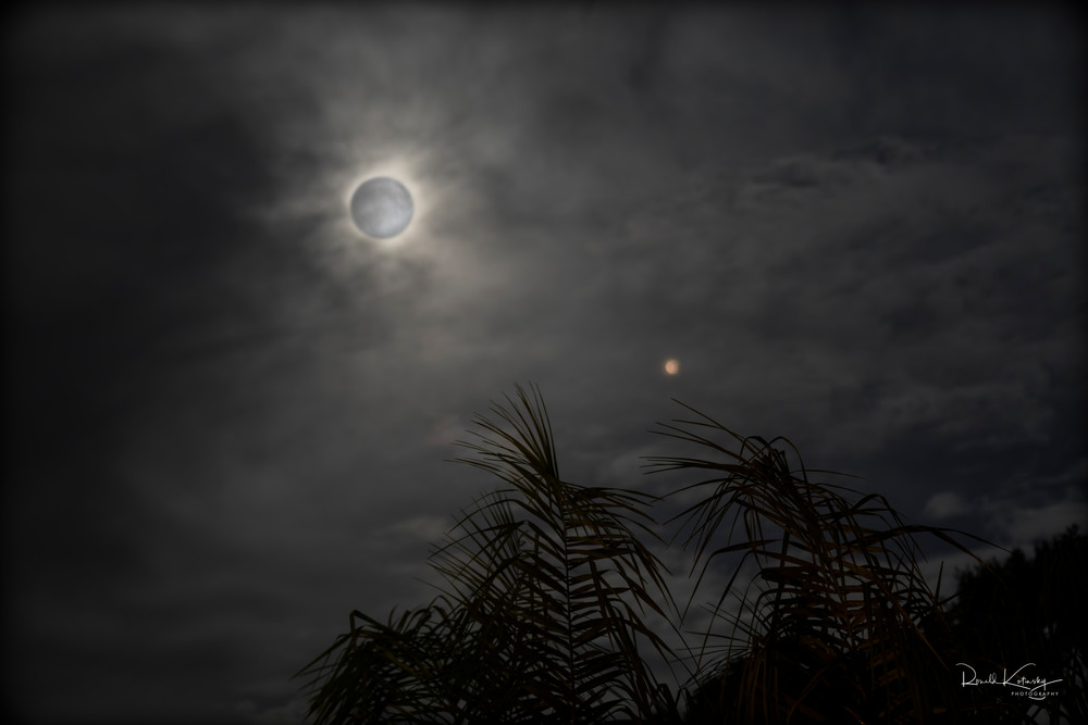 Clouded Moon and Mars