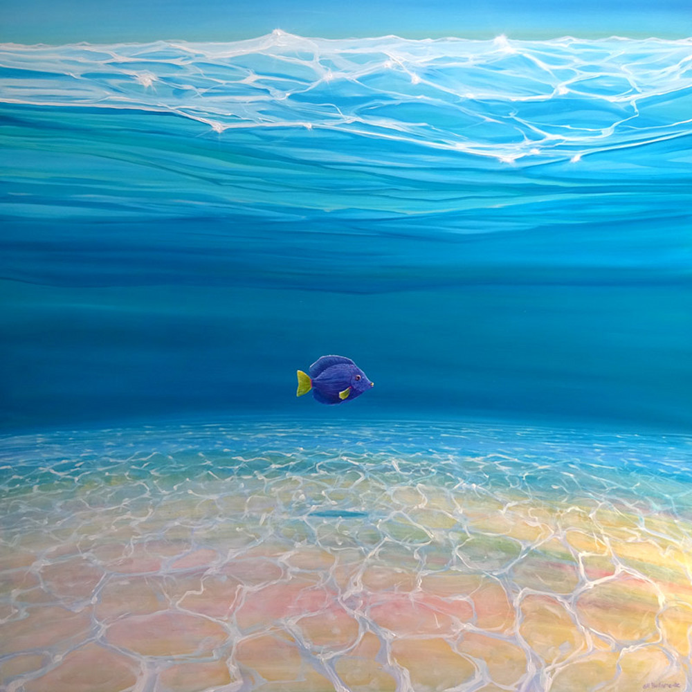 Print - Gloriously Free Under the Sea - an underwater painting with purple tang fish