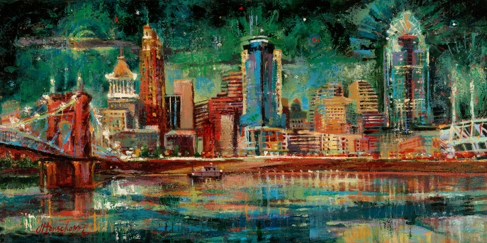 Cincinnati skyline painting
