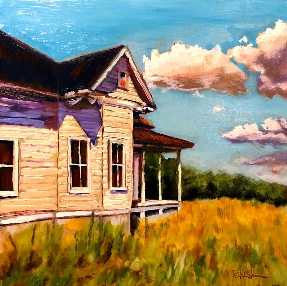Back Home Farmhouse | Original Fine Art Painting Print by Rick Osborn