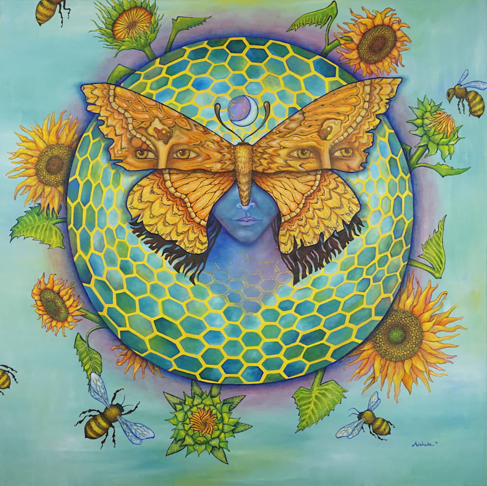 Insight Blossoming- Moth Totem Painting