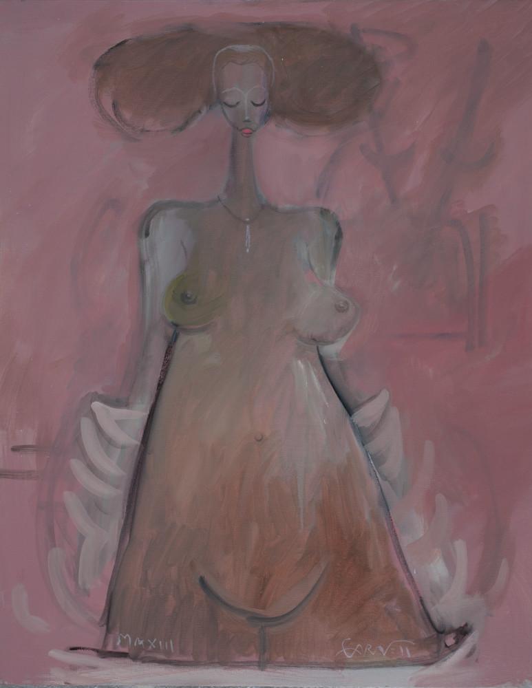 Standing Woman White Robe