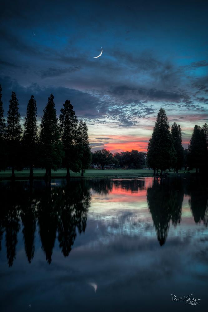 Twilight Moon and Venus Photographic Art