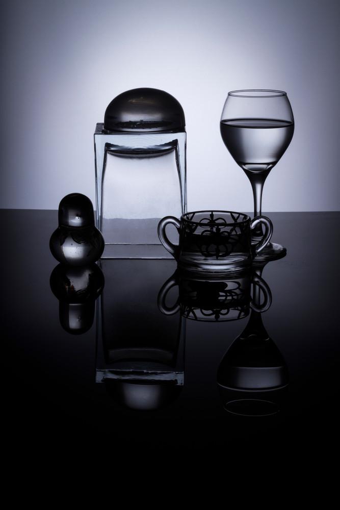 A Fine Art Photograph of Glass Black Plexi Reflections by Michael Pucciarelli