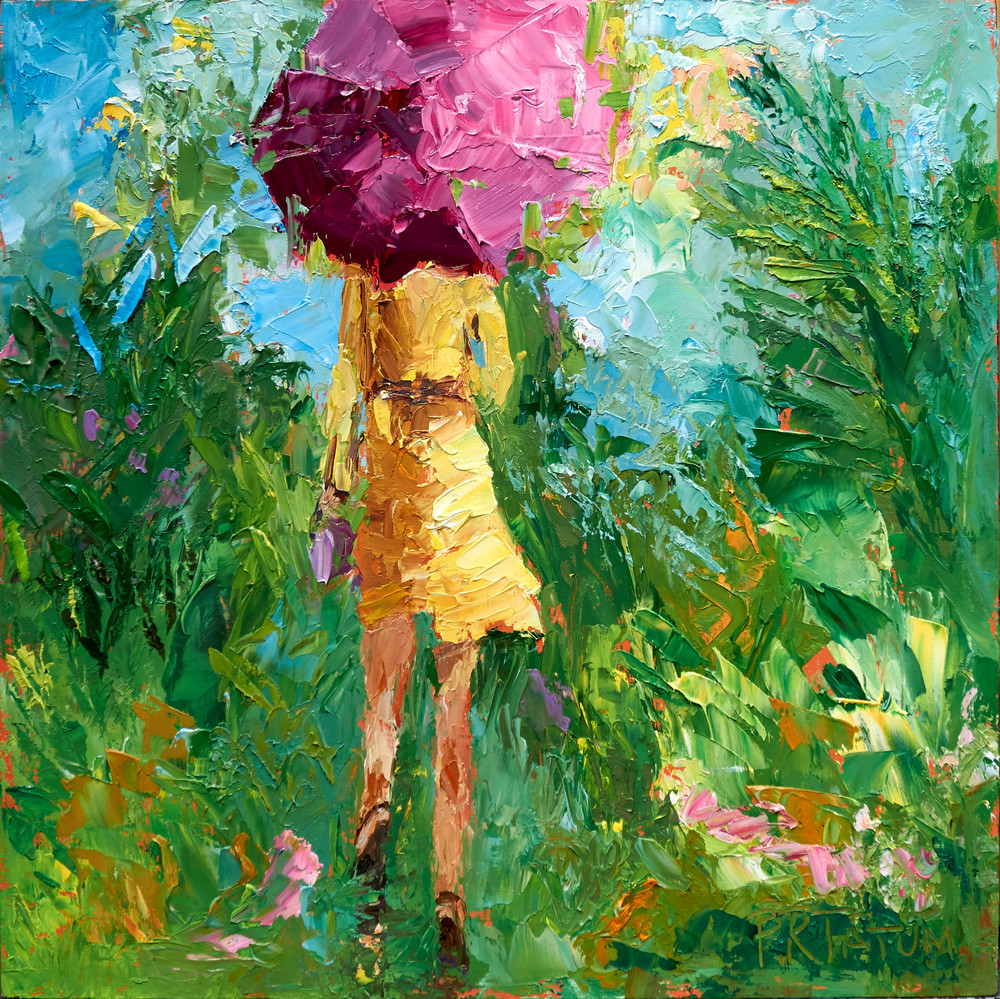 umbrella girl print, hot pink umbrella