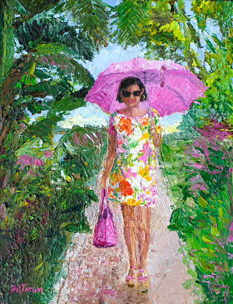 Susanna Under Her Pink Umbrella Art | Pamela Ramey Tatum Fine Art