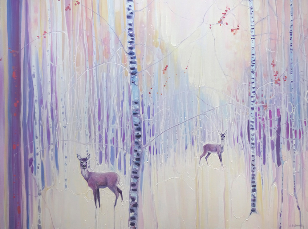 Print   Spirits Of Winter   A Snowy Landscape With Deer And Birch Trees Art | Gill Bustamante Artist