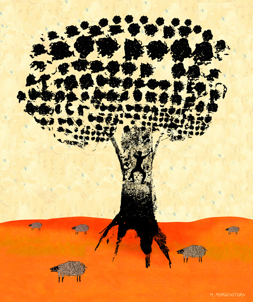 tree with sheep landscape