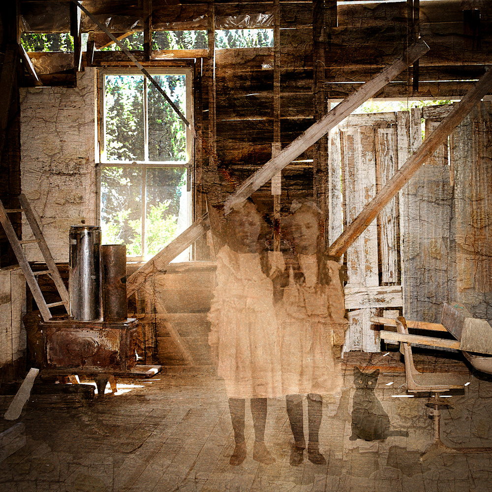 Surreal photograph, Ghost Town, Vintage Photo of school girls.