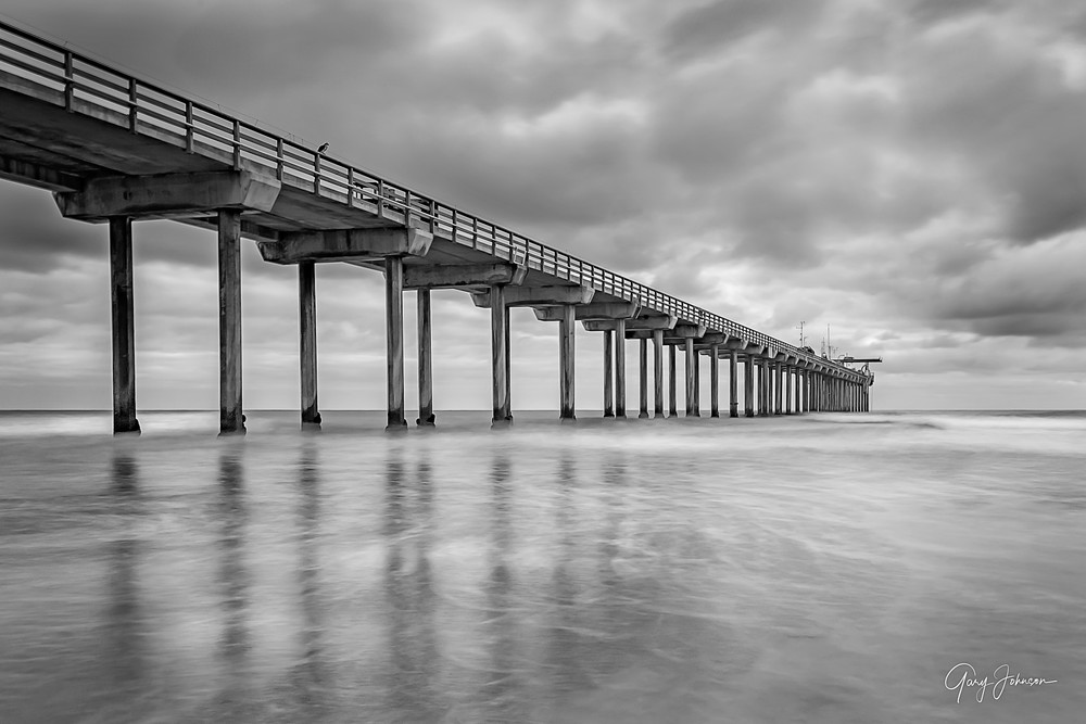 Scripps Pier in Black and White