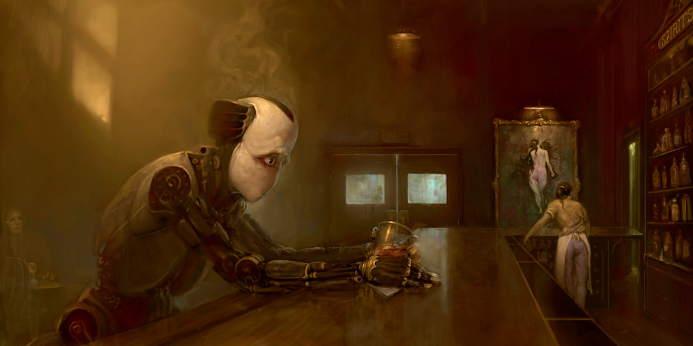 robot at the bar with no mouth painting