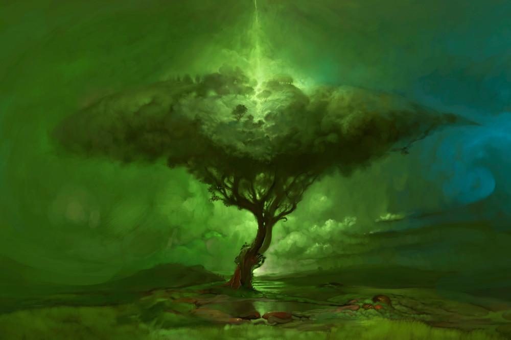 Burton Gray's Original Green TREE of LIFE painting.
